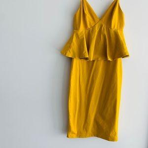 Yellow night out Bebe dress. Small